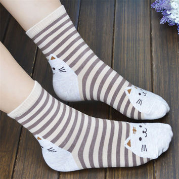 Novel design 3D Animals Striped Cartoon Socks Women Cat Footprints Cotton Socks Floor llrN25