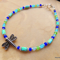 Dragonfly Joy Totem Women Teen Anklet Cobalt Blue Green Turquoise Frosted Glass