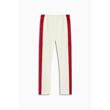heroine track pant / ivory + red
