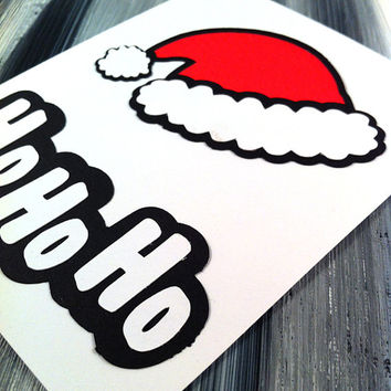 Ho Ho Ho Christmas Papercut Greeting Card - Blank