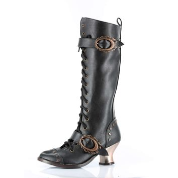 Hades Shoes H-Vintage 2 inch Lace-up Retro Kneench-Lace-up-Retro-Knee-Boot Boot