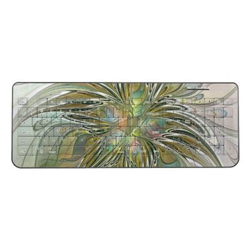 Floral Fantasy Modern Fractal Art Flower With Gold Wireless Keyboard