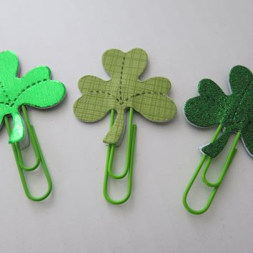 3 Shamrock Planner Clips, Glitter, Foil and Card Stock Holiday Bookmarks, St. Patrick's Day Holiday Accessory