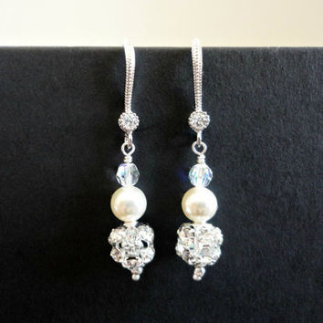 Bridal Earrings with Pearl and Rhinestone Fireball, Bridesmaid earrings, Prom earrings, Simple everyday earrings