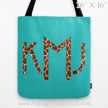 "Monogram/Personalized ""Birgitte in Pink"" Custom Tote Bag 16x16 Fancy Decor Initials Name Teal Black Neon Giraffe Spots Animal Print Wild"
