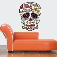 Sugar Skull Decal - Sugar Skull Sticker - Sugar Skull Wall Decor - Dia de Muertos Sugar Skull Wall Vinyl Decal - Day of Dead Decor mc552