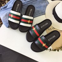 Beach Casual Couple Leather Summer Slippers [415632064548]