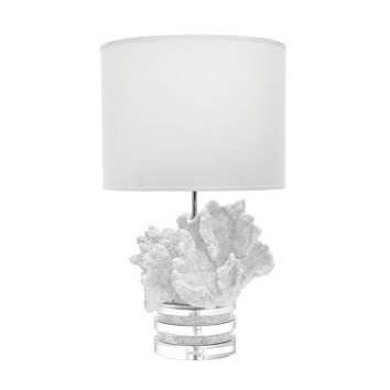 Lazy Susan White Coral And Crystal Lamp With White Suede Shade - 225089