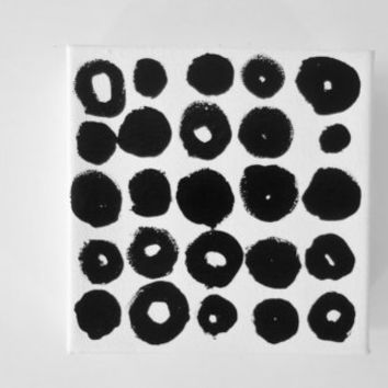 Original Black and White Minimalist Modern Art OOAK Geometric Circle Abstract Painting Art - 5 x 5 inch Canvas - FREE SHiPPiNG (Canada & US)