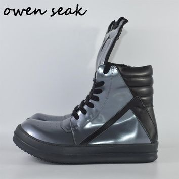 Owen Seak Men Shoes High-TOP Ankle Boots Genuine Leather Sneaker Luxury Trainers Boots Casual Lace-up Zip Flat Silver Big Shoes
