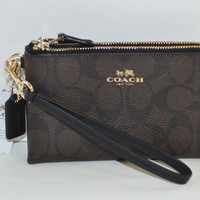 Coach Signature C Double Corner Zip Wristlet/Wallet
