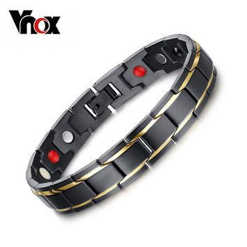 Vnox Drop-Shipping Health Energy Bracelet Bangle for Men Stainless Steel Bio Magnetic Bracelets Male DIY Jewelry Free Box