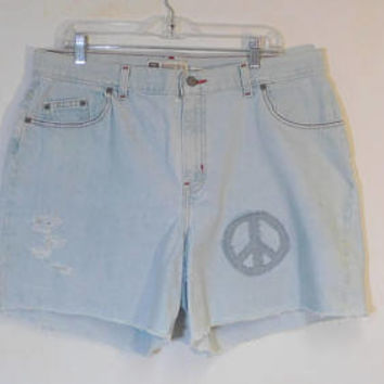 Plus Size Jean Shorts, Size 18, Upcycled, Peace Sign Patch, Hippie Clothes, Boho Clothing, Light Blue, Denim Jeans, High Waisted