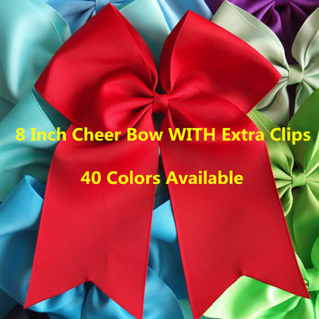 8 inch Cheer Bow WITH Extra Clips Cheer leading bow Large hair bow Hairpins Baby/Girl Hair bow 40 Colors Available 40 pcs/lot