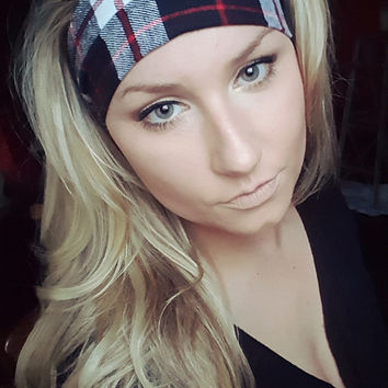 Classic Black, Red & White Plaid Tartan headband