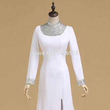 Sample Special occasion A line High neck Beaded Chiffon Split elegant evening dresses long sleeves