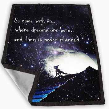 Peter Pan Galaxy Nebula Quotes Blanket for Kids Blanket, Fleece Blanket Cute and Awesome Blanket for your bedding, Blanket fleece **