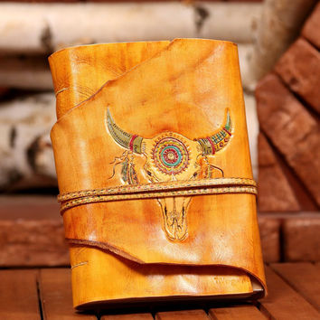 Bull Skull Leather Journal, Indian ornament, Handmade Journal, Personalized Journal, Notebook, Diary, Personalized Gift