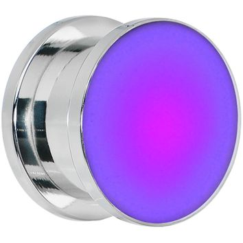 "9/16"" Stainless Steel Purple LED Light Up Screw Fit Plug"