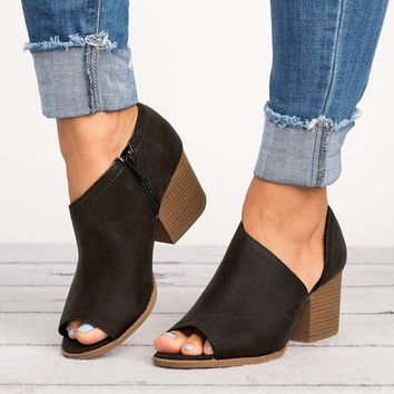 Peep Toe Cutout Booties - Black