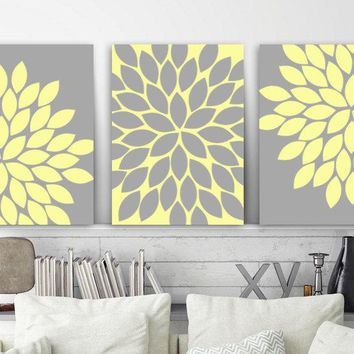 Flower Wall Art, Yellow Gray, Flower Bedroom Art, Yellow Nursery Decor, Canvas or Prints, Bathroom Decor, Flower Burst Petals Set of 3