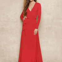 Long Wrap Jersey Dress