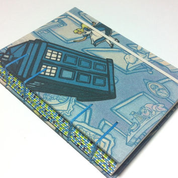 Alice in Wonderland  with Tardis - Doctor Who - Handmade Fabric Journal Notebook - Coptic Stitched