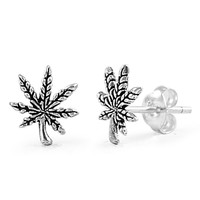 Sterling Silver Marijuana Stud Earrings