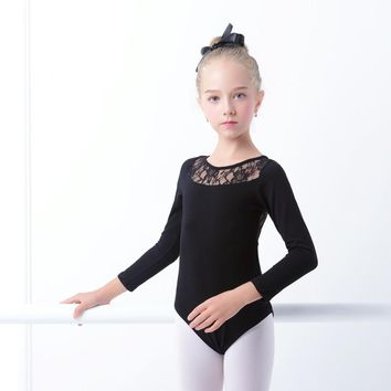 Black Lace Ballet Leotards Girls Kids Vest Ballet Clothing Dancewear Children Gymnastics Leotards