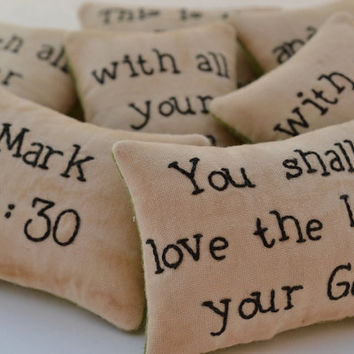 Christian Bowl Fillers - Decorative Pillows - Tucks - Ornies - Love the Lord your God - Mark 12 - Scripture - Primitive - Green Leaves