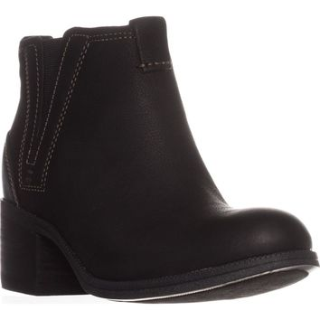 Clarks Maypearl Daisy Ankle Boots, Black Leather, 7 US / 37.5 EU