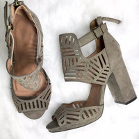 Secret Rendezvouz Taupe Suede Heels