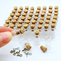 50pcs 0.5ml Vials Clear Glass Bottles with Corks Miniature Glass Bottle with Cork Empty Sample Jars Small 18x10mm