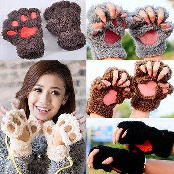 Winter Women Cute Bear's Paw Cat Paw Glove Girl Mitten Furry Thick Half Finger Gloves