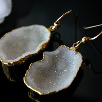 Large White Tabasco Druzy Dangles, Gold Dipped Earrings, White Geode Drops, Gold Filled, White Druzy Jewelry