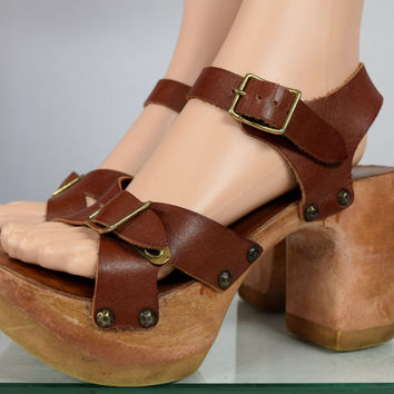 SoLd - Original Vintage 1970's Women's SBICCA Brown Leather Wedged PLaTfOrM HiPPiE BoHo Shoes Sandals Size 7.5 7 1/2 M