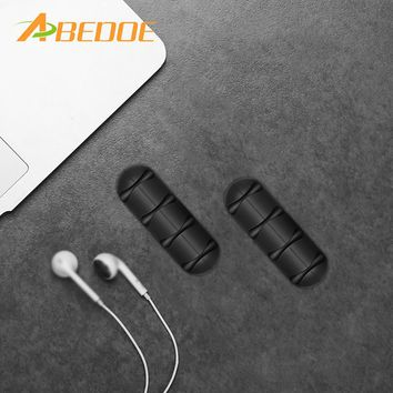 ABEDOE 2pcs Cable Winder Earphone Cable Organizer Silicon Wire Holder For Charger Data Cable Holder Clips for MP3 Mouse Earphone