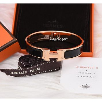 BNIB NEW HERMES CLIC H CLAC ENAMEL BANGLE BRACELET BLACK ROSE GOLD PLATED GM