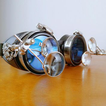 Blue Glass with Metal Rivet and Plastic Steampunk Industrial Goggles Gothic Windproof Mirror For Women/Men Eyewear Cosplay Props