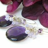 Amethyst Dangle Earrings Dark Purple Disc Crystals on Silver Ear Wires