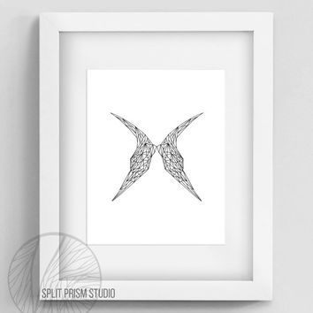 Original Art Print, Instant Download, Graphic Print, Digital File, Wall Art, Black and White, Geometric Design, Abstract, Modern, Wings