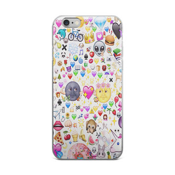 Teen Cute Girly Girls Emoji Collage Unicorn Burger Hearts Diamond Monkey Banana iPhone 4 4s 5 5s 5C 6 6s 6 Plus 6s Plus 7 & 7 Plus Case