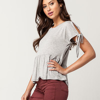 IVY + MAIN Tie Sleeve Womens Top | Knit Tops + Tees