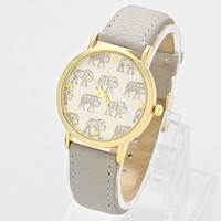 Elephant Leather Watch Gray