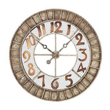 Round Metal Outdoor Wall Clock In Antique Cream