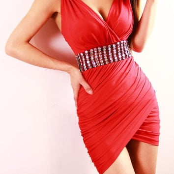 Red V-neck Sleeveless Ruched Mini Bodycon Dress With Rhinestones