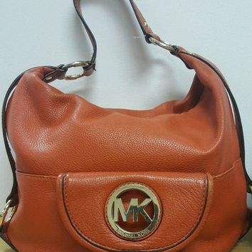 Michael Kors Fulton Leather Hobo Shoulder Bag Orange