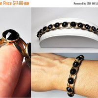 ON SALE VINTAGE Gold and Black Stone Link Bracelet, Domed, Faceted, Razor Bezel, Chunky, 60's Retro! #B172