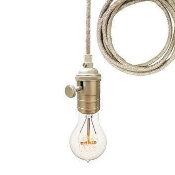 Sweater Cloth Cord & Nickel Bare Bulb Pendant Light