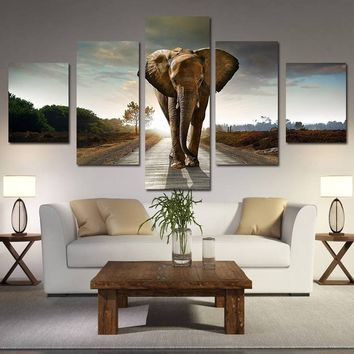 Wall Fashion Decor Clubs Decor African Elephant Modern Painting Oil Painting Home Decoration Wall Decor